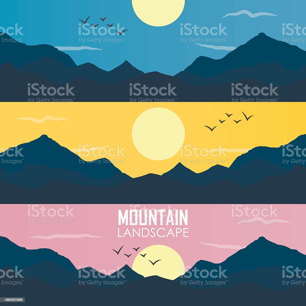 Panorama vector illustration of mountain ridges vector art illustration