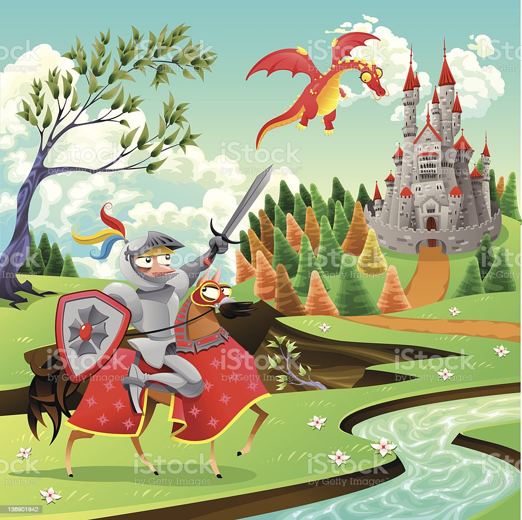 Panorama with medieval castle, dragon and knight. royalty-free stock vector art