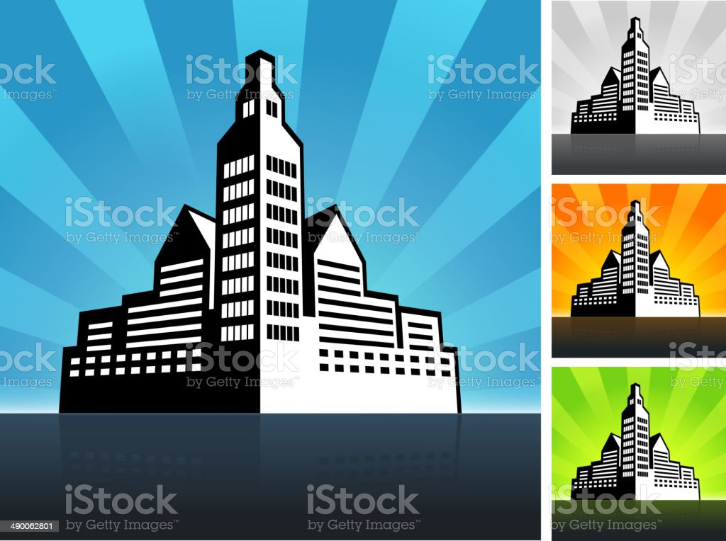 panoramic city skyline Building Color Set vector art illustration