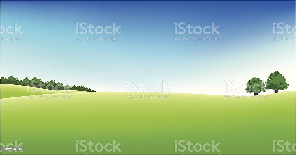 Panoramic golf field scenery vector art illustration