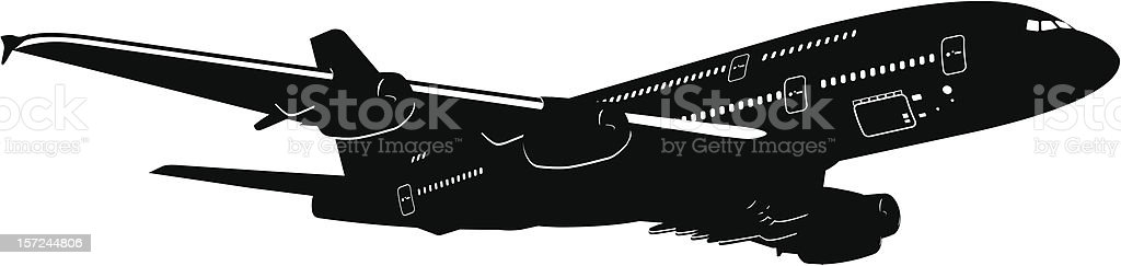Panoramic illustration of a large black A380 plane on white royalty-free stock vector art