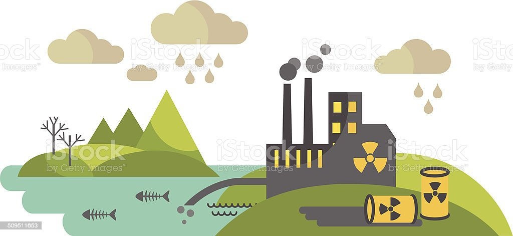 Panoramic landscape with concept pollution vector art illustration