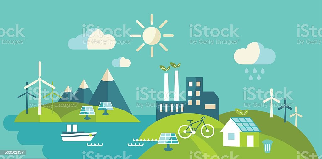 Panoramic landscape with ecology concept vector art illustration