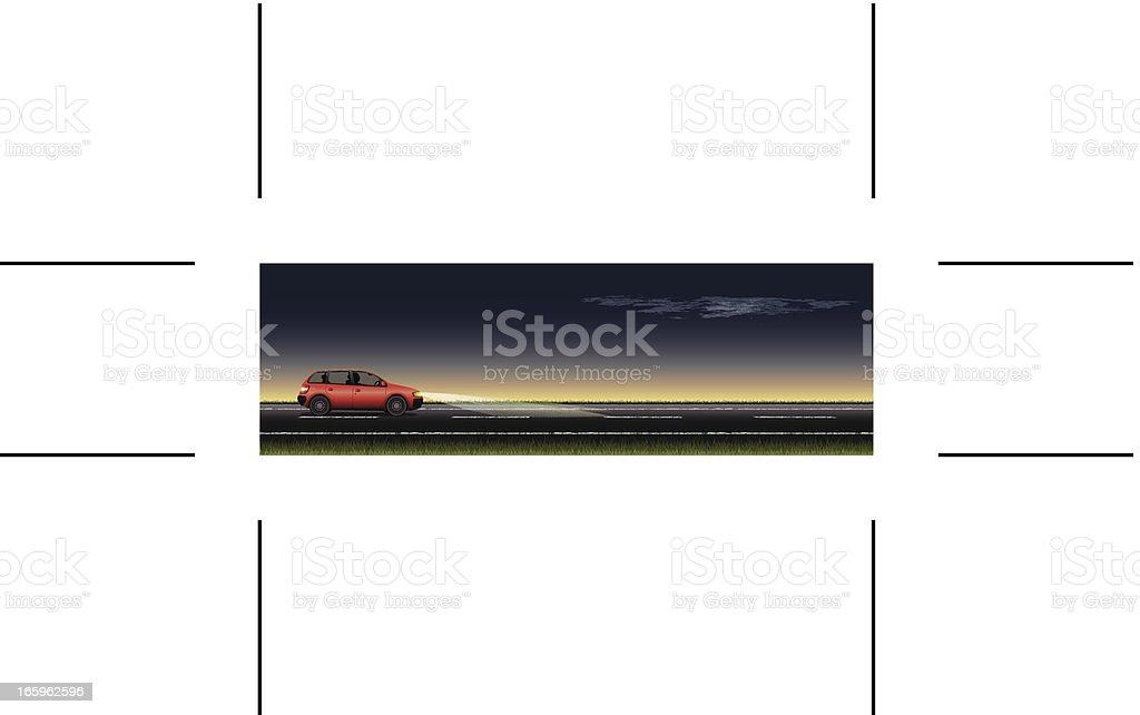 panoramic road and red car at night vector art illustration