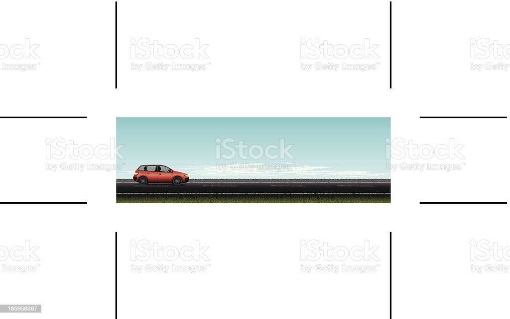 panoramic road and red car vector art illustration