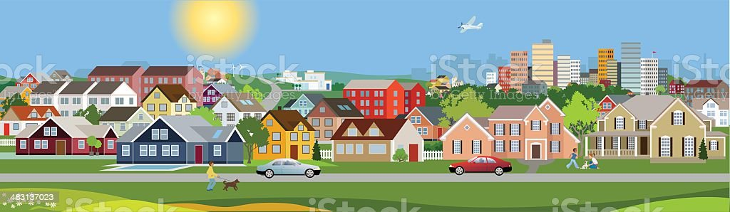 Panoramic view of a city vector art illustration