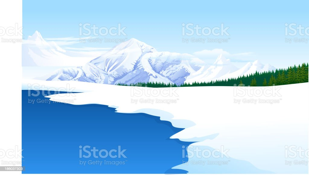 Panoramic view of a snowcapped landscape royalty-free stock vector art