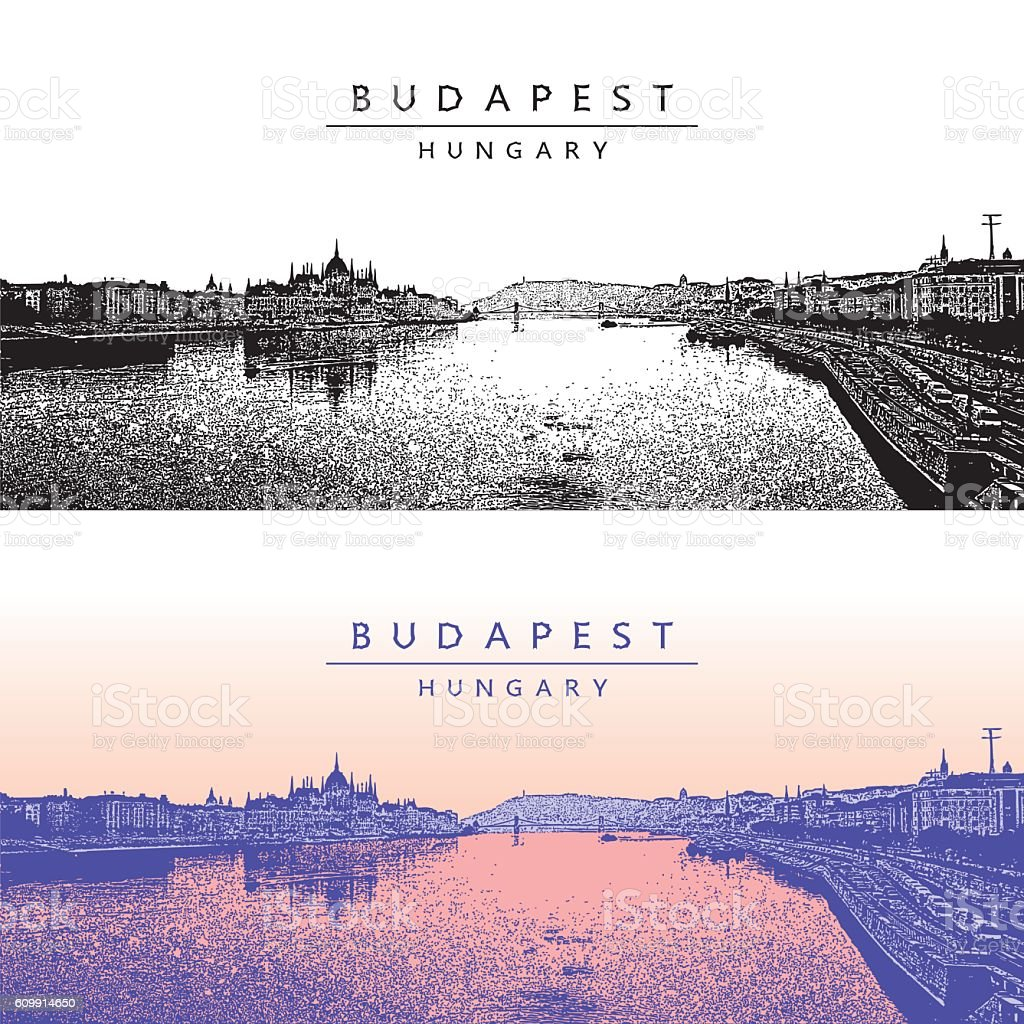 Panoramic view of Budapest, Hungary. vector art illustration