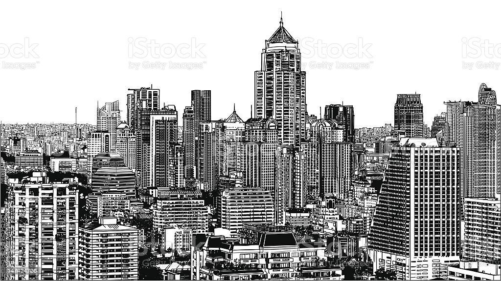 Panoramic view of modern Bangkok near Asok royalty-free stock vector art