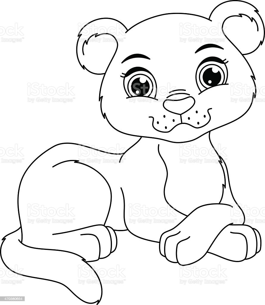 Panther cub coloring page vector art illustration