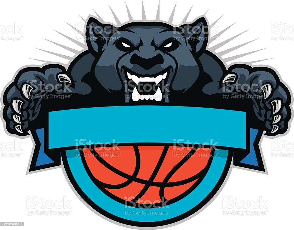 Panther jumping over a basketball design vector art illustration