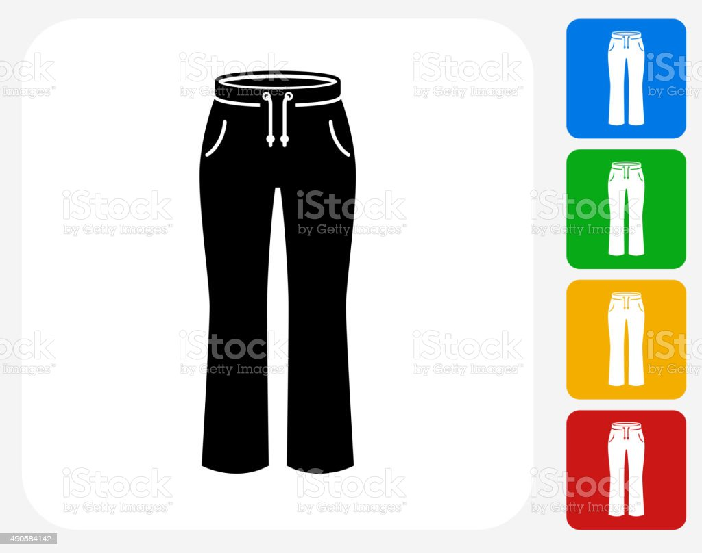 Pants Icon Flat Graphic Design vector art illustration