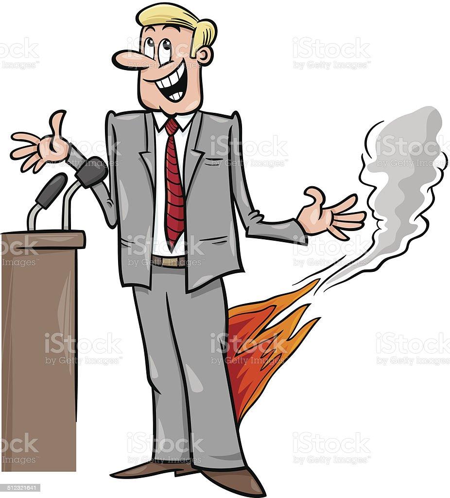 pants on fire saying cartoon vector art illustration