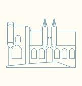 Papal Palace Avignon colored line Illustration