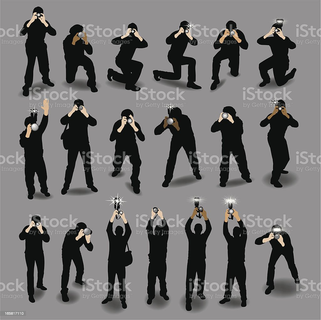 Paparazzi, Photojournalists and Photographers vector art illustration
