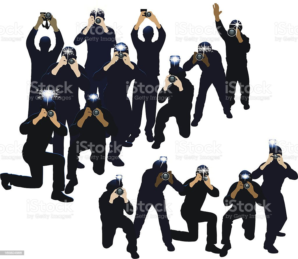 Paparazzi, Photojournalists - Photographers vector art illustration