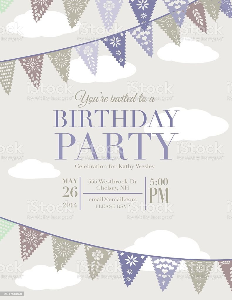 Papel Picado Banners Birthday Party Invitation Template vector art illustration