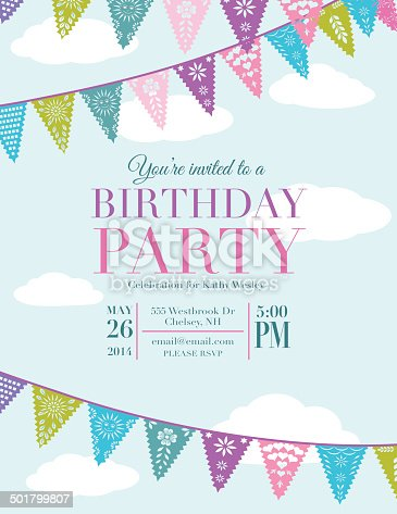 Papel Picado Banners Birthday Party Invitation Template stock vector ...