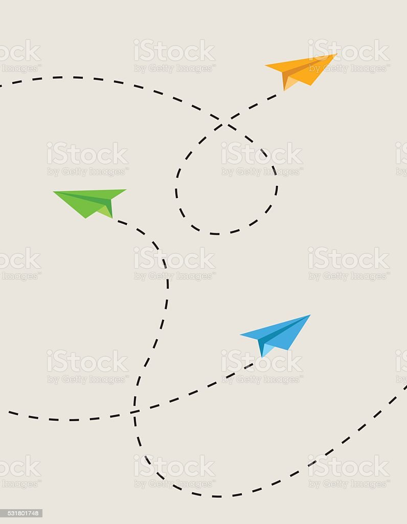 paper airplane route vector art illustration