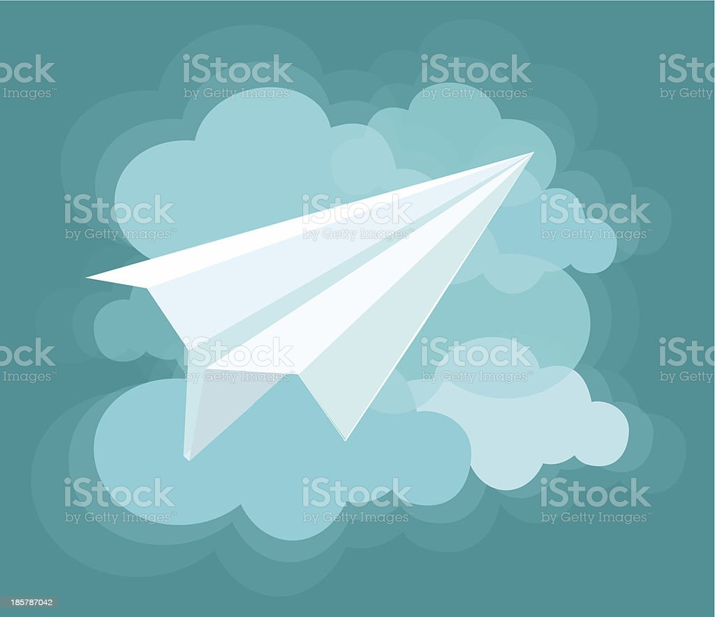 Paper Airplanes and Clouds royalty-free stock vector art