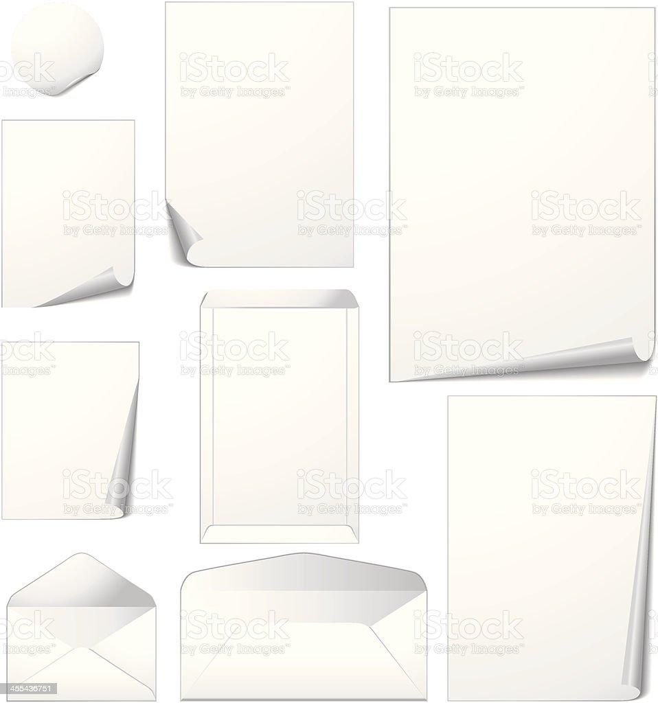 Paper and envelopes vector art illustration