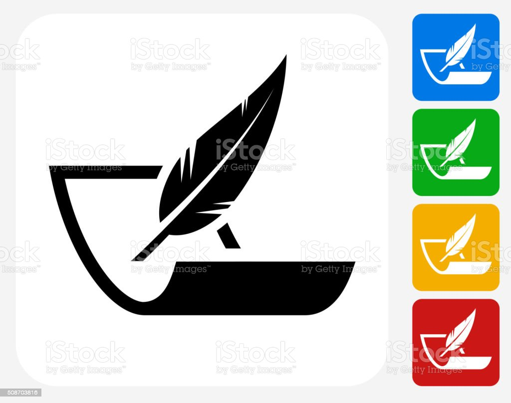 Paper and Feather Pen Icon Flat Graphic Design vector art illustration