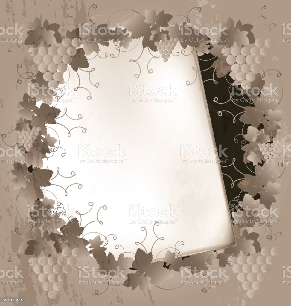 paper and grape frame vector art illustration