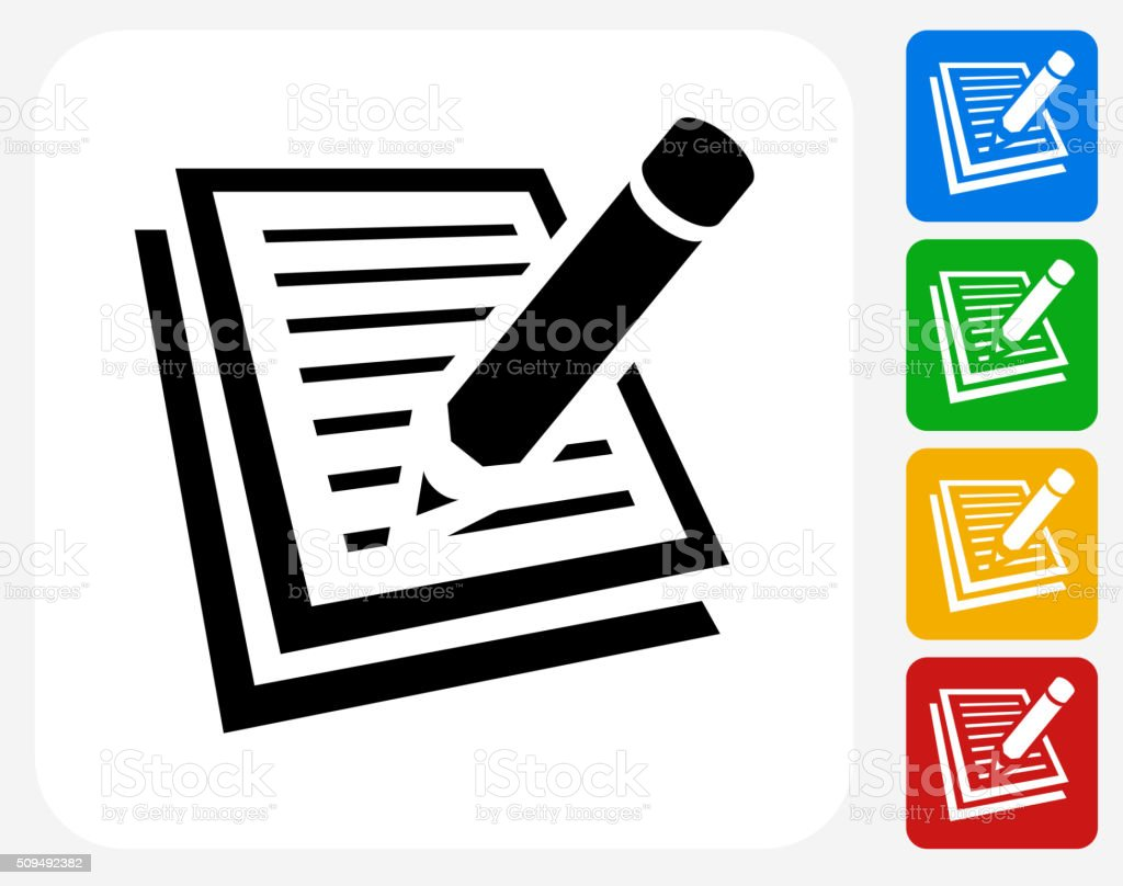 Paper and Pencil Icon Flat Graphic Design vector art illustration