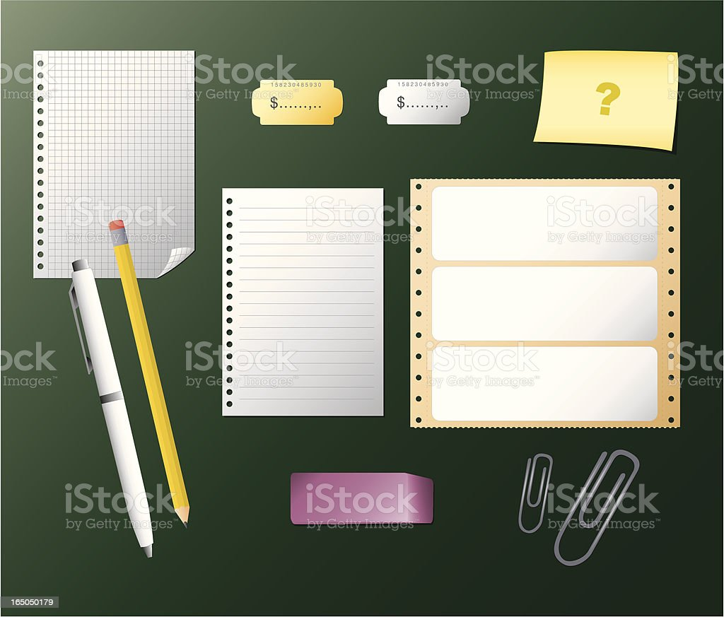 Paper and pencils royalty-free stock vector art