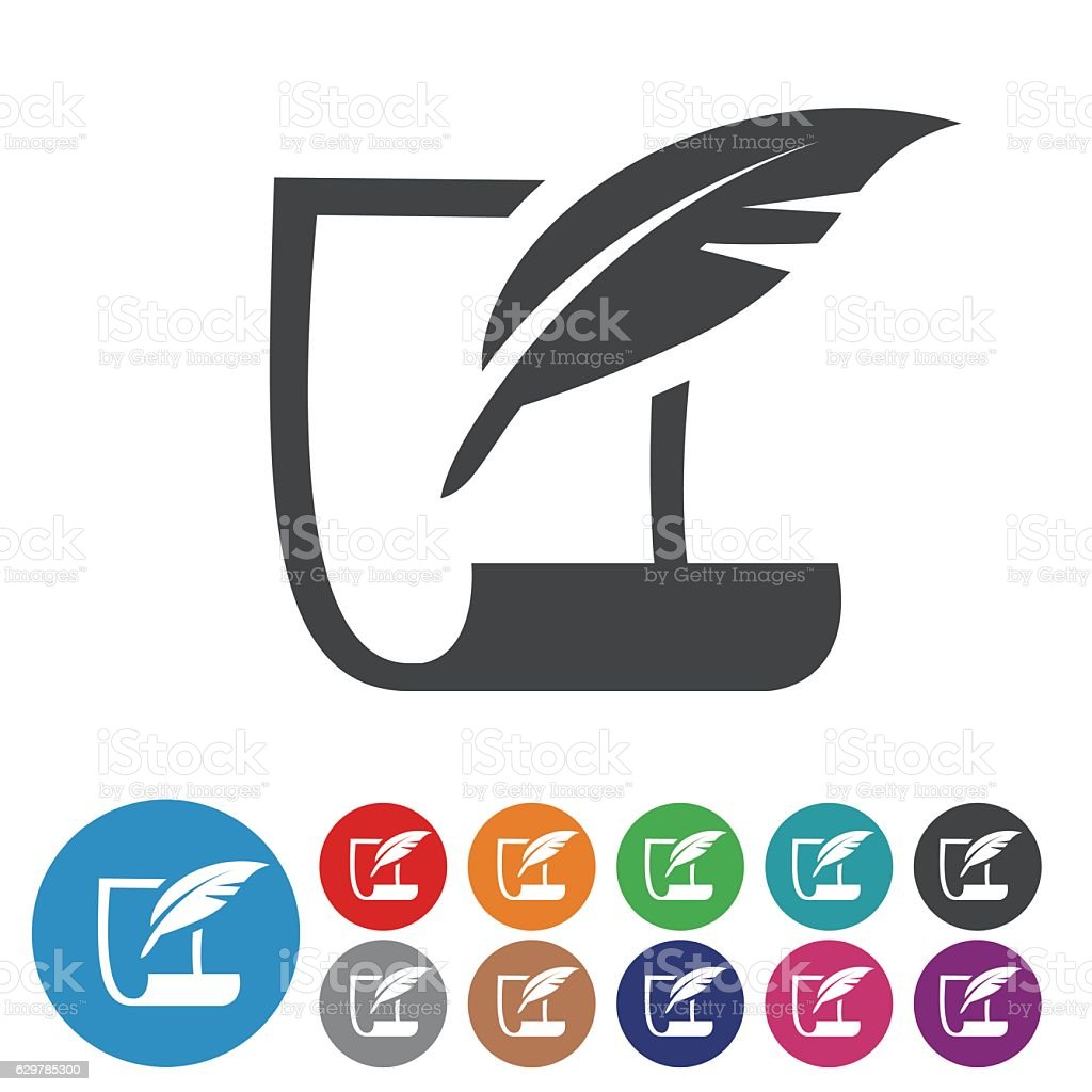 paper and Quill Icons - Graphic Icon Series vector art illustration