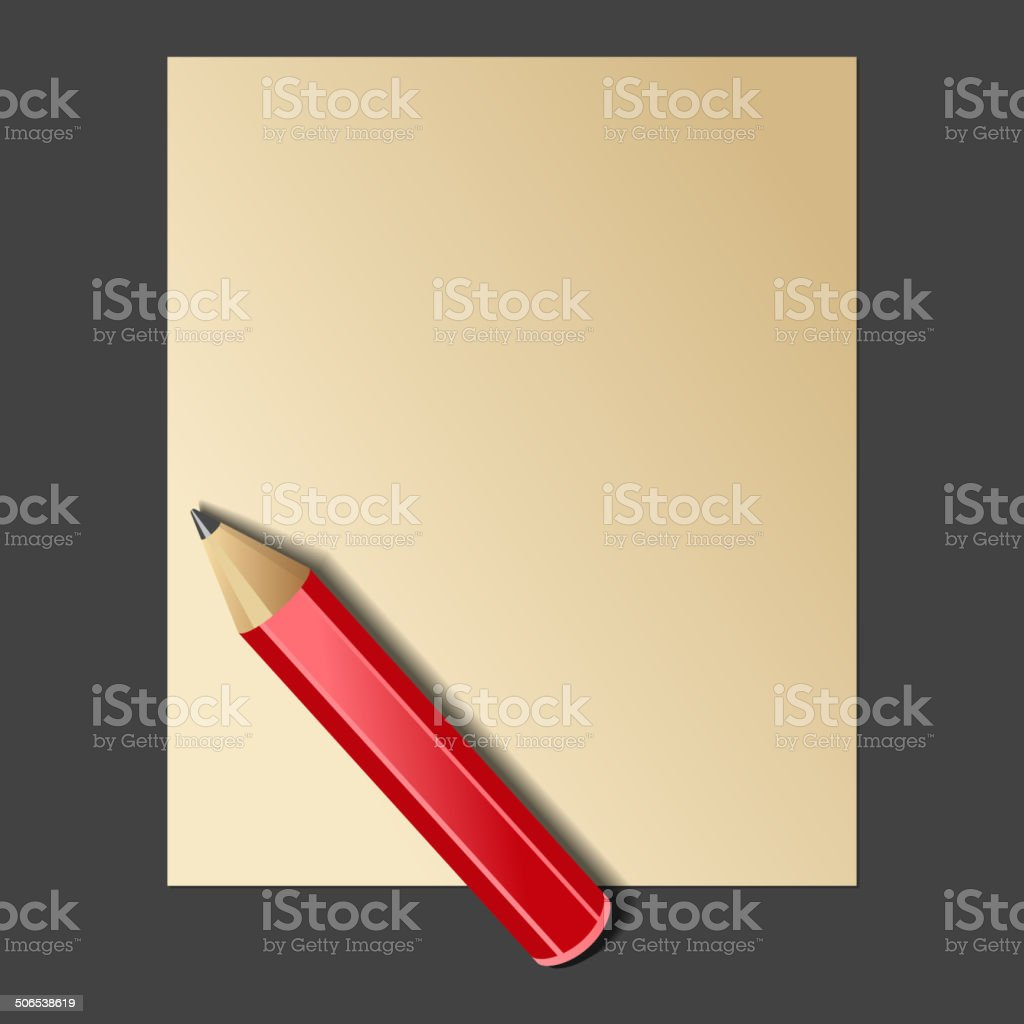 Paper and Red Pencil. Vector royalty-free stock vector art