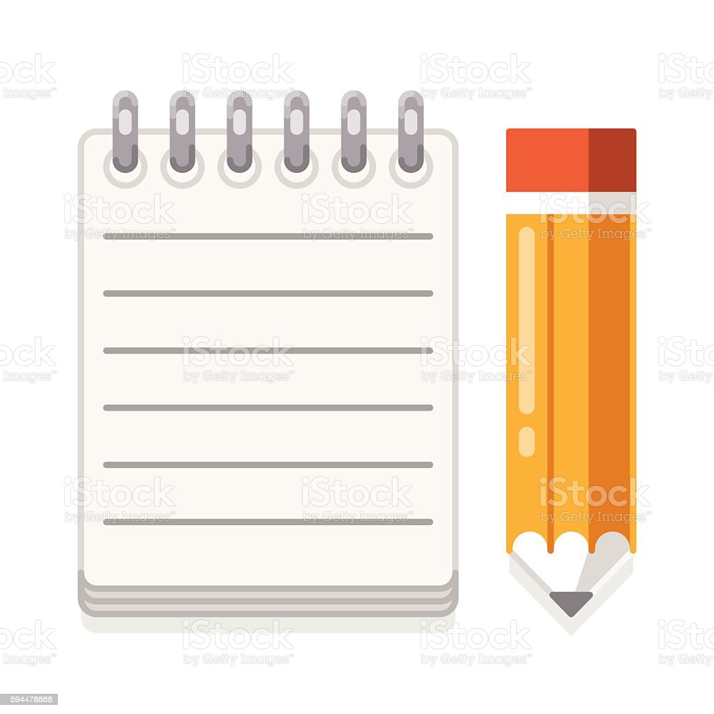 Paper and yellow pencil. Notepad vector art illustration