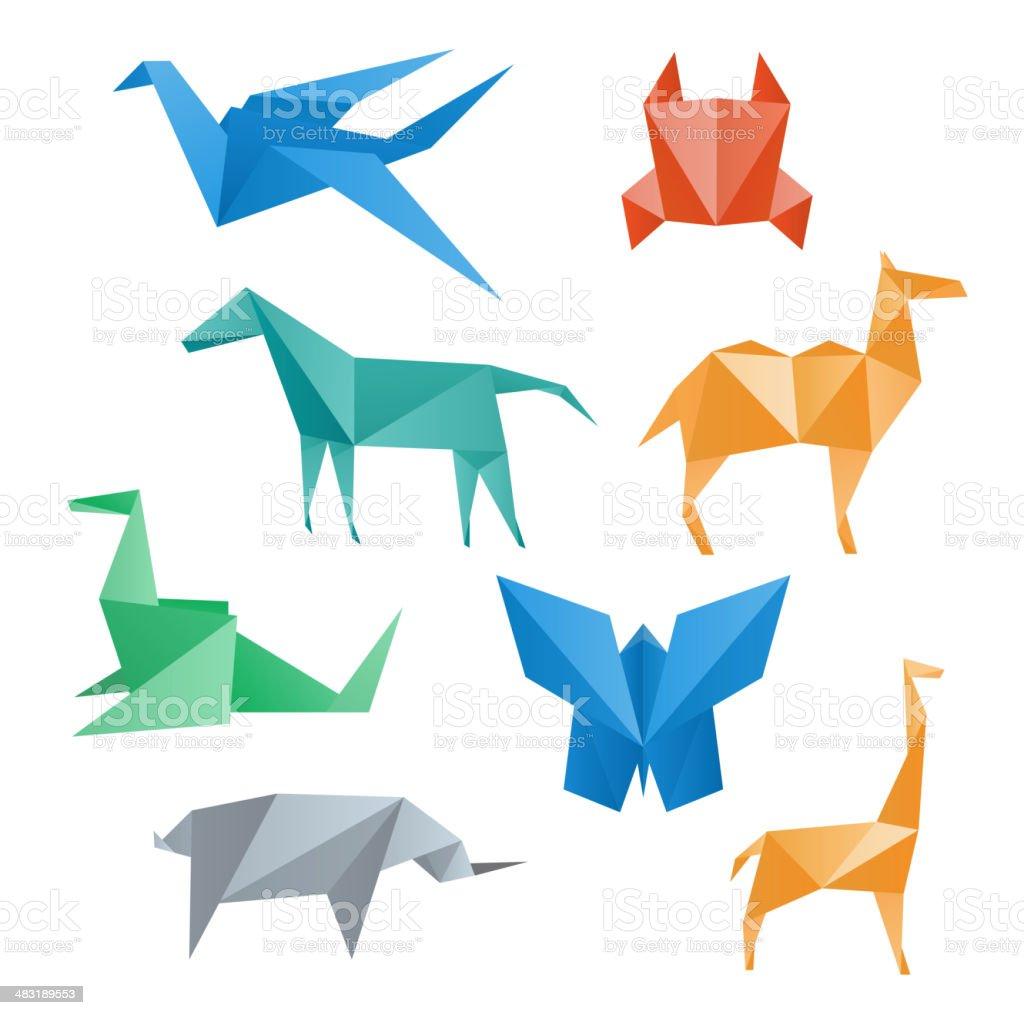 Paper animals, origami style. vector art illustration