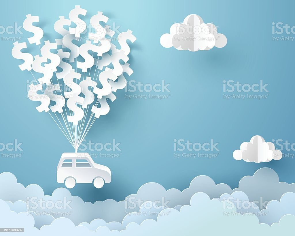 Paper art of car hanging with dollar sign balloon vector art illustration