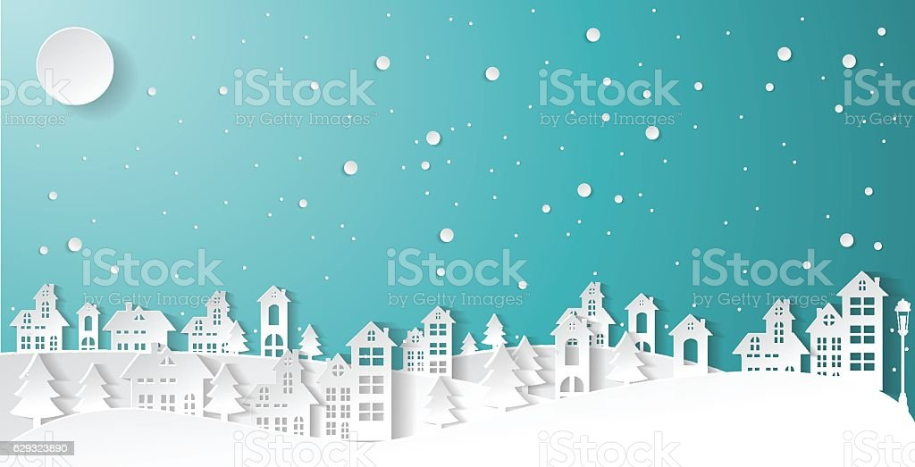 paper art Winter Snow Urban Countryside Landscape vector art illustration