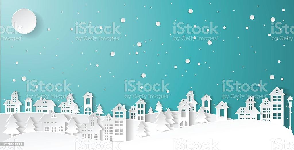 paper art Winter Snow Urban Countryside Landscape vector art illustration