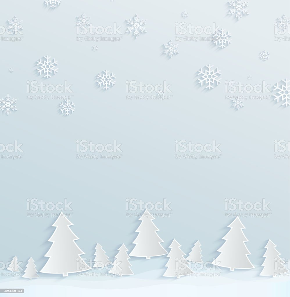 Paper background with Christmas trees and snowflakes royalty-free stock vector art