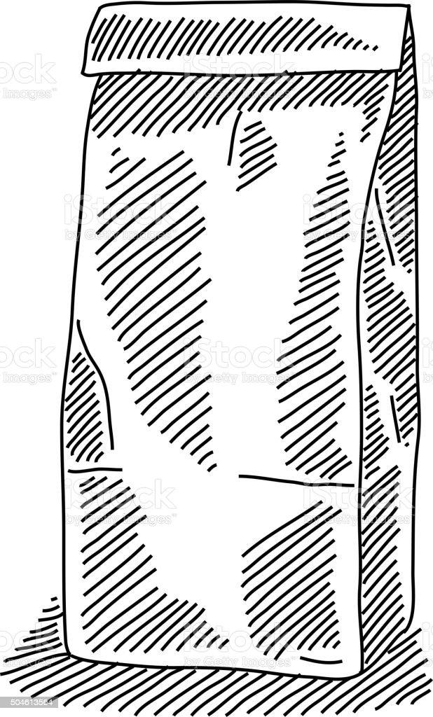 Paper Bag Drawing vector art illustration