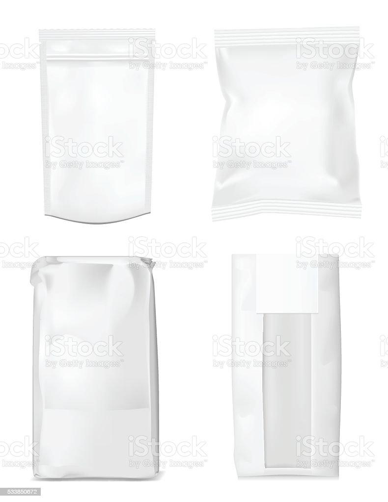Paper bag for flour, tea, coffee, pasta, chips. vector art illustration