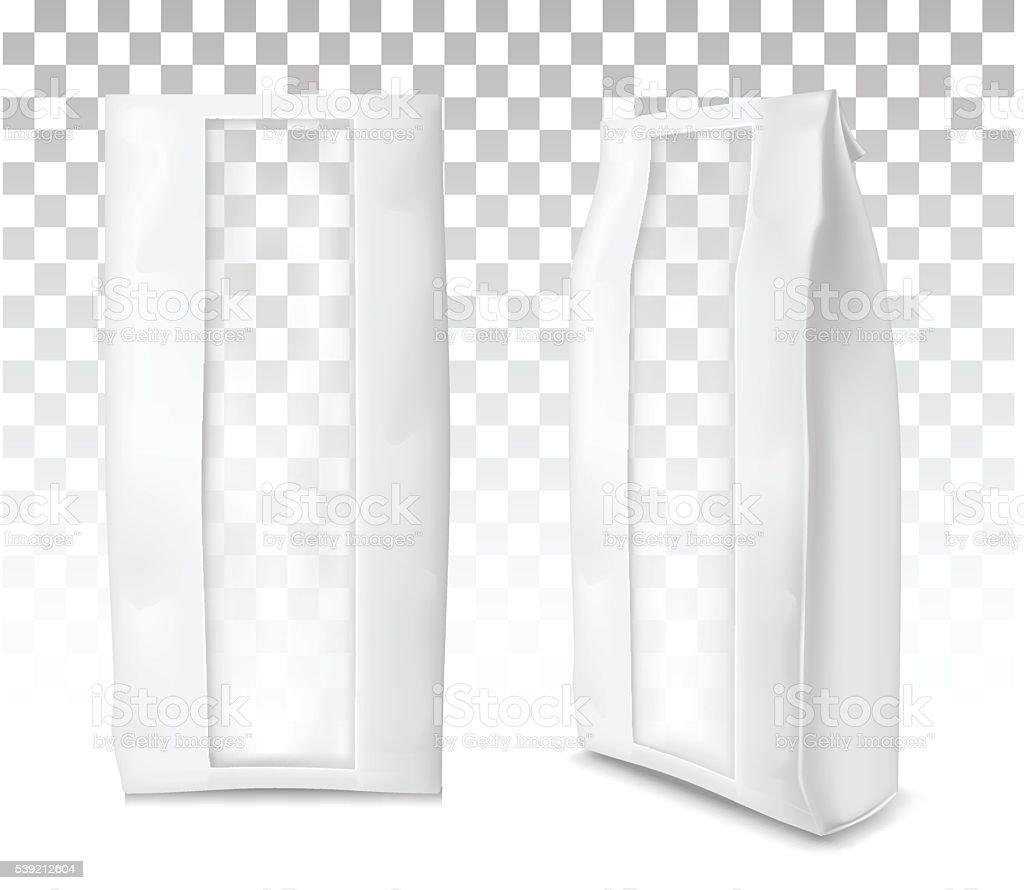 Paper bag for flour, tea, coffee, pasta.  Soft packing. vector art illustration