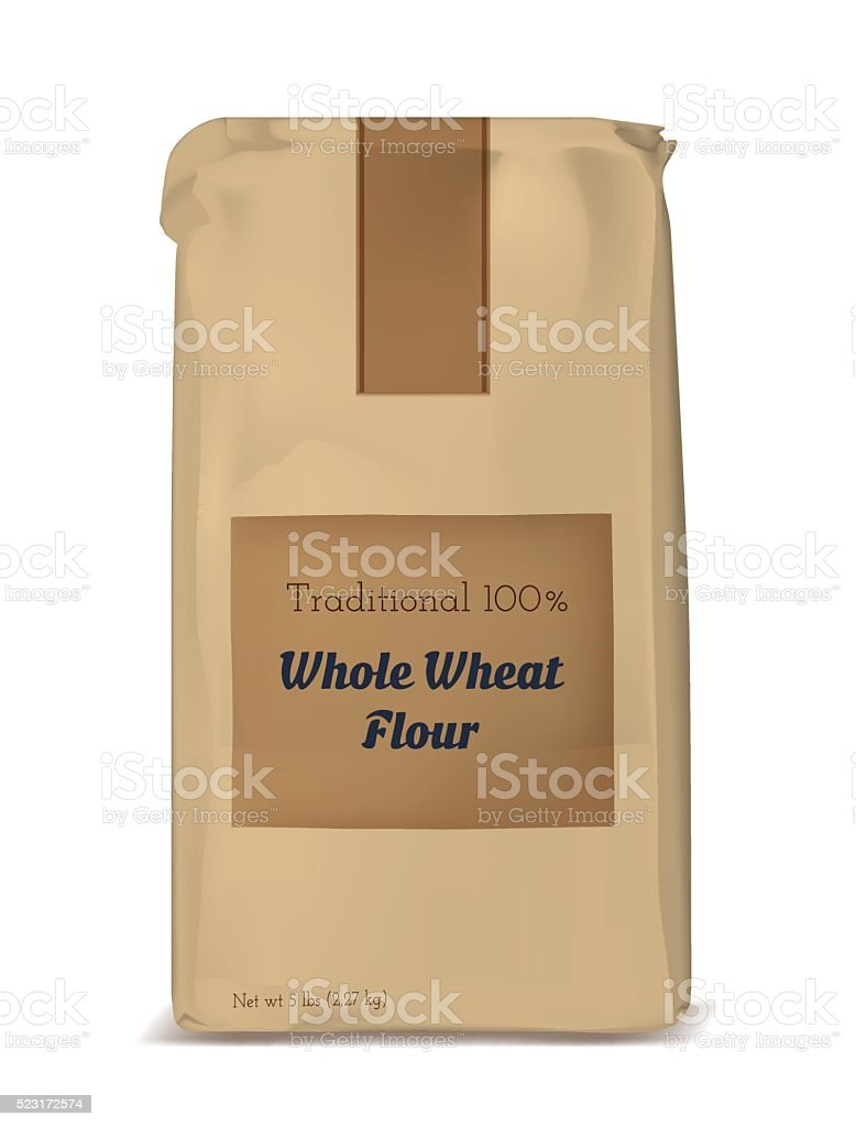 Paper bag for flour. Vector brown soft packing. vector art illustration