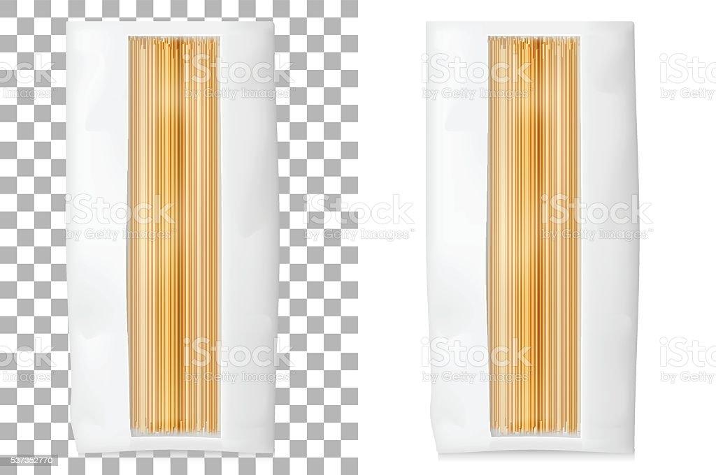 Paper bag for spaghetti, macaroni, pasta. Soft packing. vector art illustration