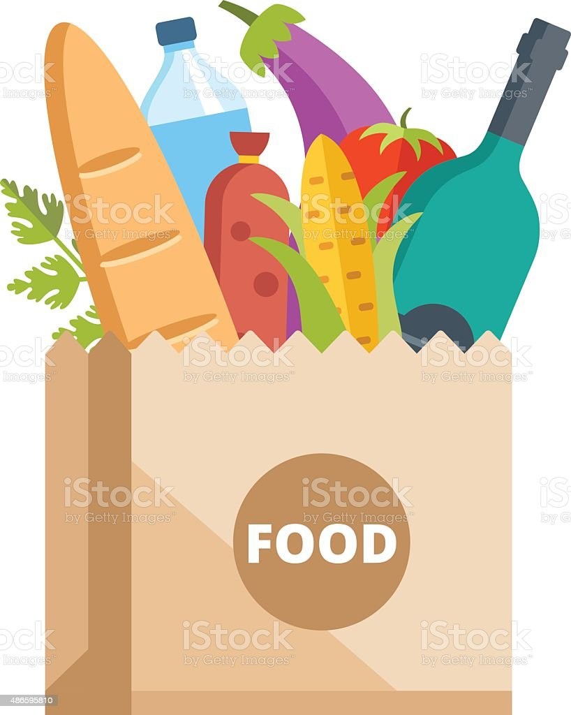 Paper bag full of food. Grocery delivery concept vector art illustration
