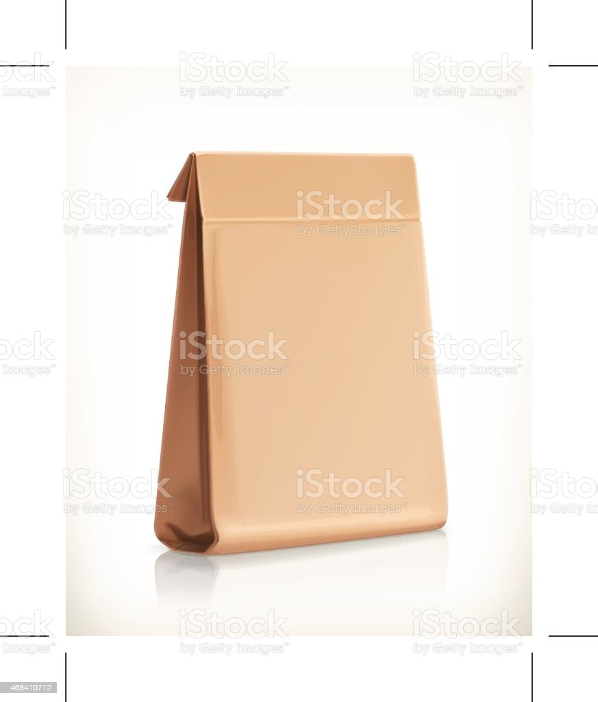 Paper bag, vector object vector art illustration