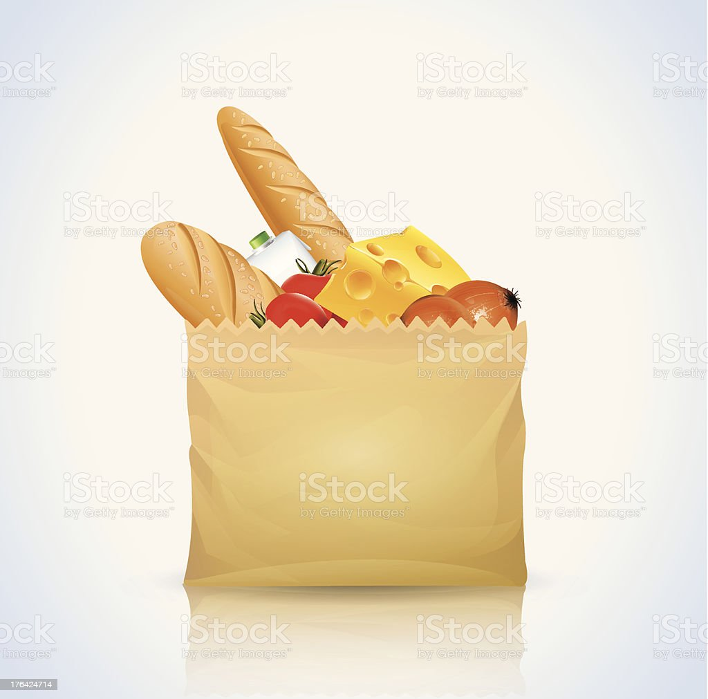 Paper Bag With Food royalty-free stock vector art