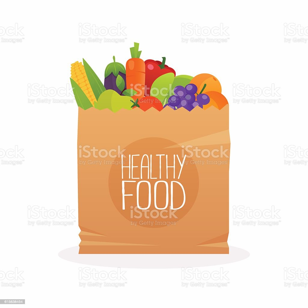 Paper bag with healthy foods. Healthy organic fresh and natural vector art illustration