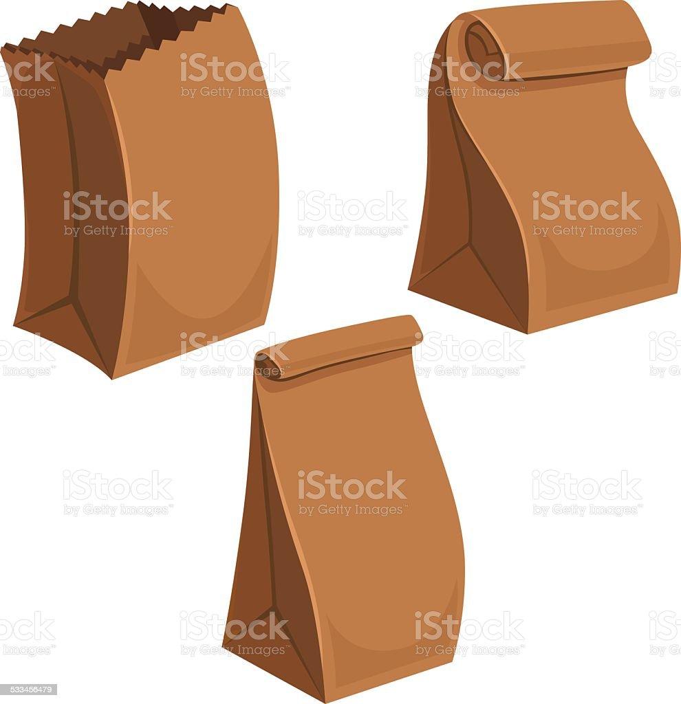 Paper Bags Cartoon vector art illustration