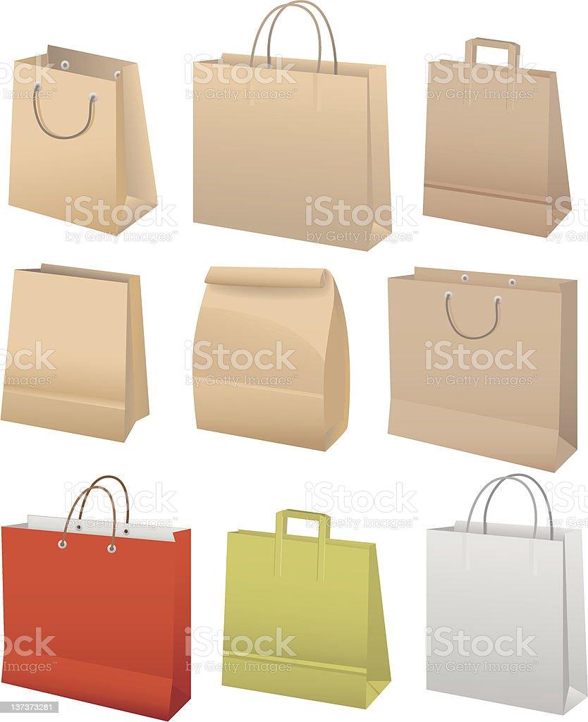 Paper bags set royalty-free stock vector art