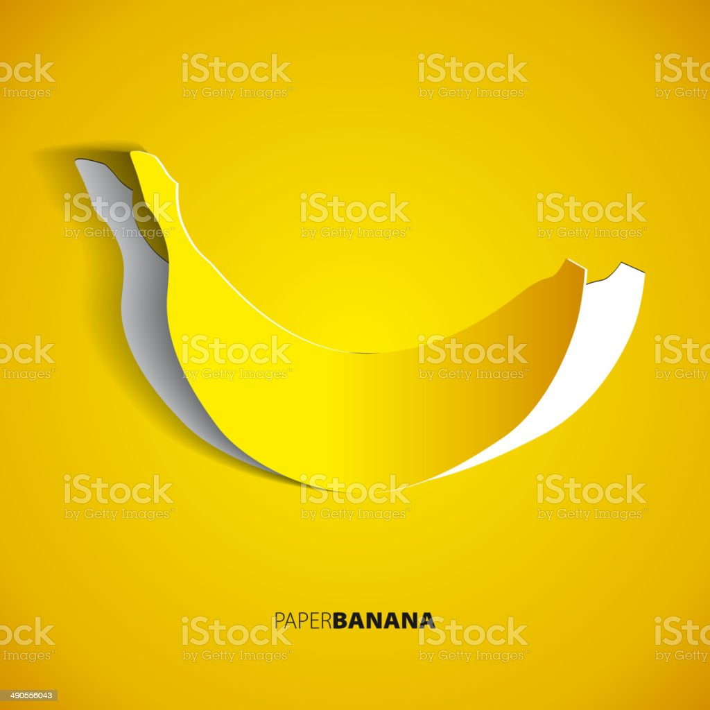 Paper banana cutout - vector illustration design card - EPS10 vector art illustration