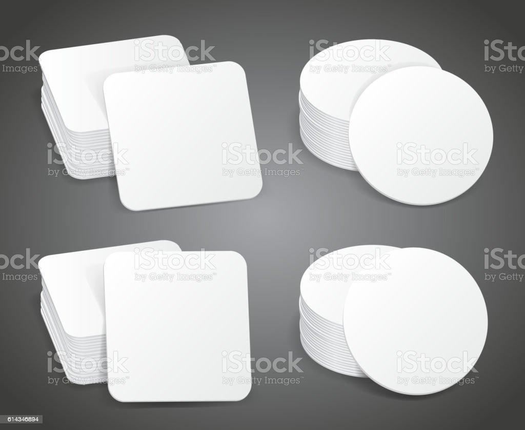 Paper blank beer coasters vector vector art illustration